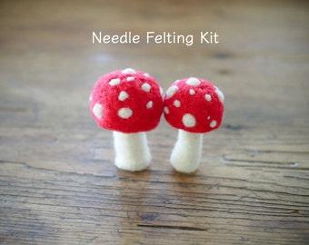 Toadstool Needle Felting Kit - Needle Felted Toadstool Kit - Beginner Starter Kit - DIY Mushroom Kit, DIY Craft Kit, DIY Home Decor - Large
