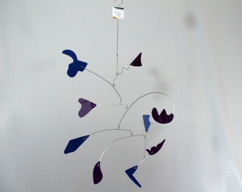 Art Mobile For The Porch Patio Garden Playroom or Nursery - SHIPPING INCLUDED Ready to Ship -19w x 31t - Calder Inspired Mobile 102115-20