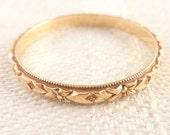 Antique Size 6 Victorian 14K Gold Floral Wedding Band Ring