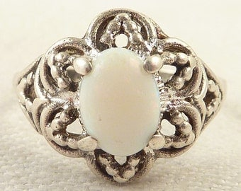 Size 7 Vintage Floral Sterling and Oval Opal Espo Ring