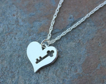 Modern Key to My Heart Necklace - Sleek sterling silver heart with key cutout on delicate sterling silver rope chain -free shipping USA