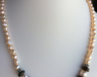 Necklace — Watermelon Tourmaline, Beige Freshwater Pearls and Pewter Accents