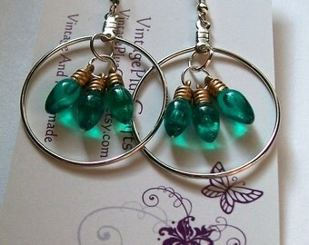 Christmas Light Bulb Earrings, Hoop Earrings, Christmas Earrings, Green Colored Earrings, Hoop Christmas Earrings