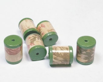 Antique Looking Barrels Beads -  Paper and Polymer Clay
