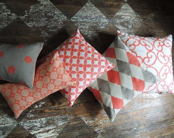 coral natural gray peach and white hand block printed linen decorative pillow covers modern moroccan geometric home decor