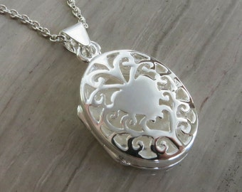 "Sterling Silver oval gated dome locket on 18"" chain"