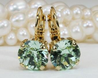 Mint Green Drop Crystal Earrings Swarovski Crystal Mint Green Chrysolite 8mm Mint Wedding Mint Bridesmaids Gift Mint single stone,Gold,GE2