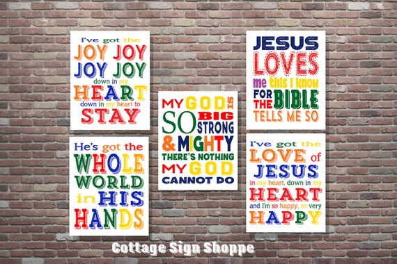 Sunday School Songs, Kids Bible Songs,Christian Wall Art,SET,INSTANT DOWNLOAD,Sunday School Wall Art,Christian Wall Art,Kids Christian Songs