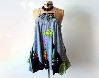 Upcycle Swing Shirt Plus Size Tank Top Lagenlook Clothes Layer Gypsy Top A-Line Slouchy Fit Bohemian Fashion Burning Man Style 1X 2X CAPRICE