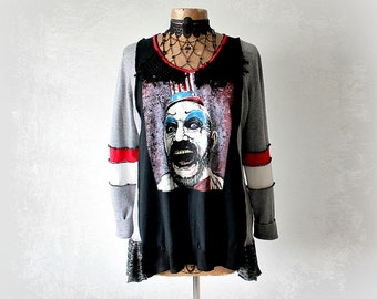 Goth Clothing Black Upcycle Sweater Scary Circus Wearable Art Shirt Sustainable Clothes Unique Artsy Top Women Gothic Tunic L XL 'MAXINE'