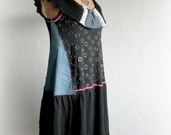 Upcycled Black Dress Punk Rock Safety Pins Off Shoulder Bohemian Clothes Recycle Denim Knee Length Funky Dress Unique Clothing S M 'BRIELLE'