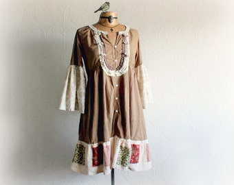 Shabby Women's Dress Romantic Style Wide Bell Sleeves Brown Boho Dress Country Clothing Retro Upcycled Clothes Eco Friendly Medium 'MURIEL'