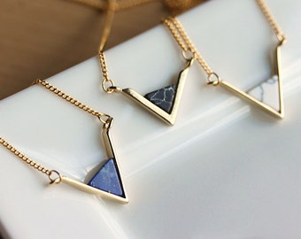 Dainty Geometric Gold Necklace-Geometric Triangle .Blue Lapis,White Howlite,Black Marble,Gift for her,Gift for wife,gift for girlfriend.MKY