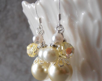 Light Yellow Pearl Earrings Dangle Earrings Bridesmaid Earrings Spring Wedding Jewelry  Beaded Pearl Cluster Earrings with Swarovski Crystal