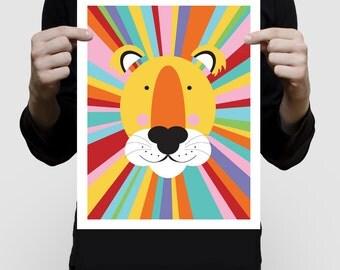 nursery animal print - rainbow lion - wild african sarafi nursery, kids, nursery decor, jungle wall art, illustration, babies room, boy girl