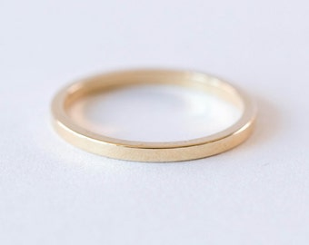 Yellow Gold Classic Wedding Band | Flat Edge Wedding Ring | Rose Gold Ring [Modern Edge Wedding Band]