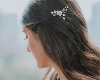 Crystal Hairpin |  Rhinestone Hair Pins | Pearl Bridal Hairpin | Wedding Hair Accessories | Golden Bridal Hair Comb [Senna Hairpin]