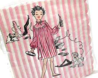 Vintage Luncheon Napkins PINK Stripe Slumber PARTY Decor Records Babydoll PJs New In Package Scalloped Paper Ephemera USA PeachyChicBoutique