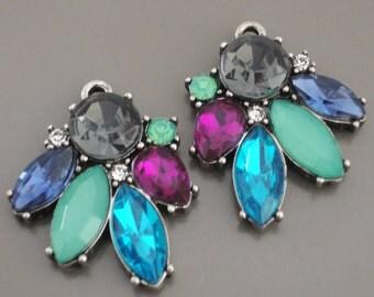 Rhinestone Chandelier Earring Finding Amethyst Blue Green Quartz Jewelry Pendant Earring Drops Silver Earring Drops Silver Components Charm