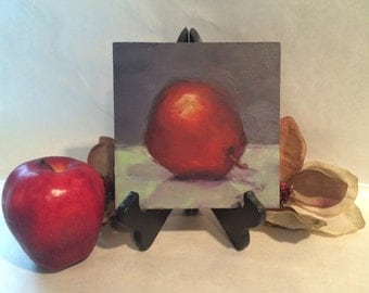 Food Art For Kitchen Red Pear Original Oil Painting Still Life Wedding Home Gift Ideas