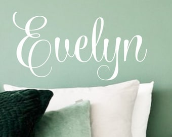 Name wall decal, script style name, nursery wall decals, personalized, monogram, baby girl name, nursery room name, baby name vinyl wall art