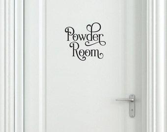 Bathroom door decal - powder room bathroom vinyl lettering - vinyl letters words for home - ladies room - powder room decal