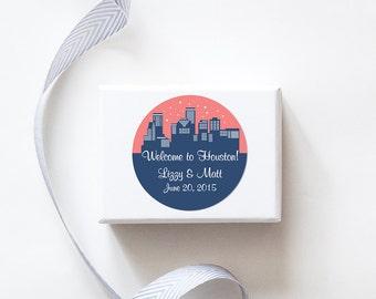 Houston, TX Custom Wedding Welcome Stickers -  SKYLINE DESIGN