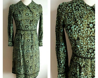 Vintage Green Batik Collared Dress, Small