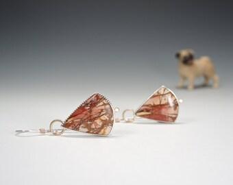 Cherry Creek Jasper Earrings, Dangle Earrings, Sterling Silver, 14kt Gold, Elegant, Pink, Fabricated