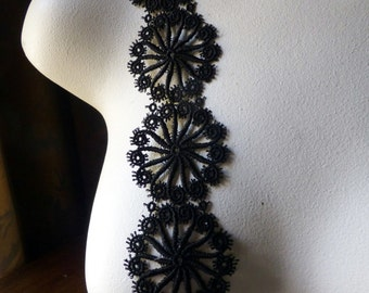 Black Lace Trim Venise Style for Appliques, Lyrical Dance, Costume or Jewelry Design L 2098