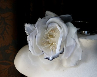 Silk Velvet and Organdy Millinery Rose in Cream with Ink edge for  Bridal, Sashes, Hats, Corsages MF101-6128