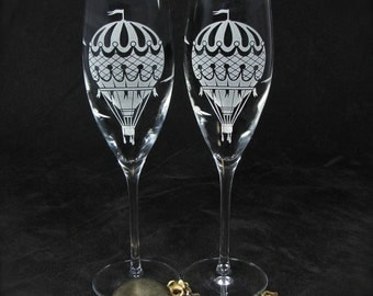 2 Hot Air Balloon Champagne Glasses, Vintage Style Travel Themed Wedding Decor, Personalized