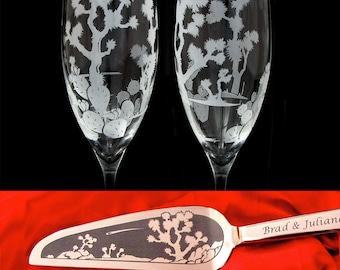 Personalized Joshua Tree Cake Server, Knife, Champagne Flute Set for Desert Wedding Present for Couple