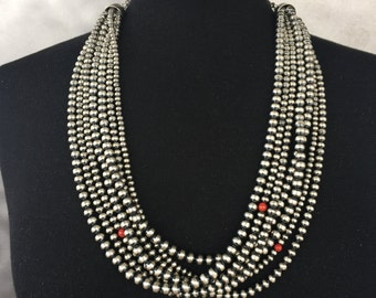 N38 Multi Strand Sterling Silver Santa Fe Pearl Beads Coral Southwestern Style Necklace