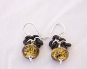 HANDMADE LEOPARD Dangle EARRINGS Lampwork .925 Sterling Silver