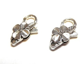 Five (5) Large and Sturdy Pewter Silver Flower Lobster Claw Clasps