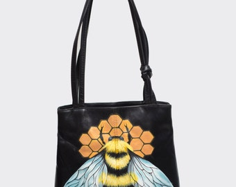 Vintage leather bag 'Bee mine', hand-painted by Nina Valkhoff