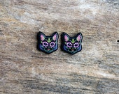 Cats in Black - Day of the Dead Sugar Skull Kitty Cat Earrings - THE ORIGINAL