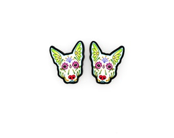 German Shepherd Earrings in White - Day of the Dead Sugar Skull Dog Post Earrings
