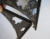 19thC Petite Antique Victorian Cast Iron Architectural Shelf Brackets