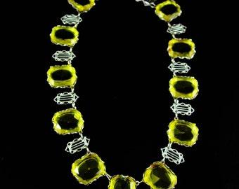 Art deco Necklace Vintage Lemon Glass Festoon HUGE stones Citrine yellow  13th 17th anniversary November gemstone sagittarius scorpio