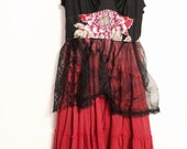 Altered black and red lacey gypsy slip dress medium