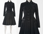 1940s Black Velvet Coat: Vintage Princess Coat, 40s Fitted Nipped Waist Coat with Flared Skirt