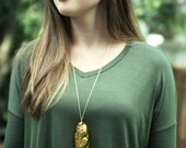 The Edisto - Handmade Gold Pottery Glazed Oyster Shell Necklace