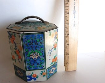 Vintage Hexagon Tin With Lid Dusty Aging Floral