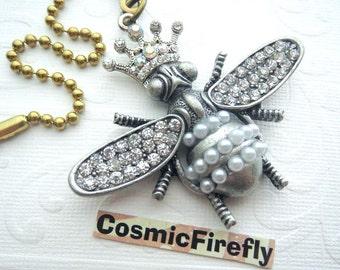Big Queen Bee Fan Pull Steampunk Ceiling Fan Pull Chain Crystal Accents Cosmic Firefly Fan Pull Art Nouveu Bling