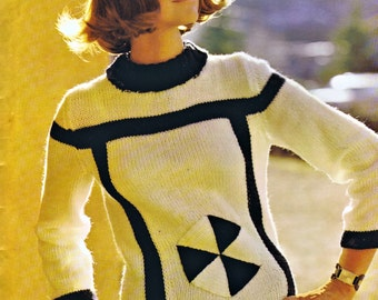 PDF Knitting Pattern Black White Geometric 60s Mod Pullover Hat Set Bust Size 32 to 38 Inches Instant Download Vintage Reproduction