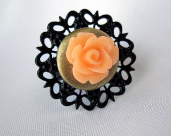 Peach Open Rose on Adjustable Black and Brass Doily Ring - Handmade - OOAK - One of a Kind Gift