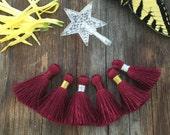 "Burgundy - Maroon: 1.75"" Small Silk Luxe Tassel, 2pcs, Handmade Tassels for Jewelry Making, Short Tassels / Choose your Binding / Supplies"