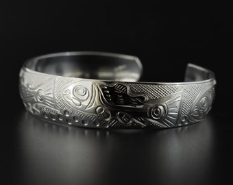 Salmon Life Cycle Domed Cuff Bracelet Hand Engraved 0.5 Inches Wide Signed